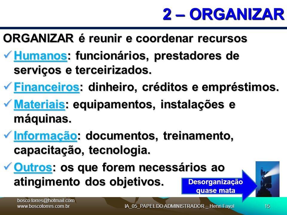 IA_05_PAPEL DO ADMINISTRADOR _ Henri Fayol15 2 – ORGANIZAR ORGANIZAR é reunir e coordenar recursos Humanos: funcionários, prestadores de serviços e te