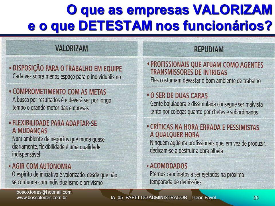 IA_05_PAPEL DO ADMINISTRADOR _ Henri Fayol20 O que as empresas VALORIZAM e o que DETESTAM nos funcionários?. bosco.torres@hotmail.com www.boscotorres.