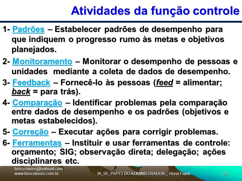 IA_05_PAPEL DO ADMINISTRADOR _ Henri Fayol23 Atividades da função controle 1- Padrões – Estabelecer padrões de desempenho para que indiquem o progress