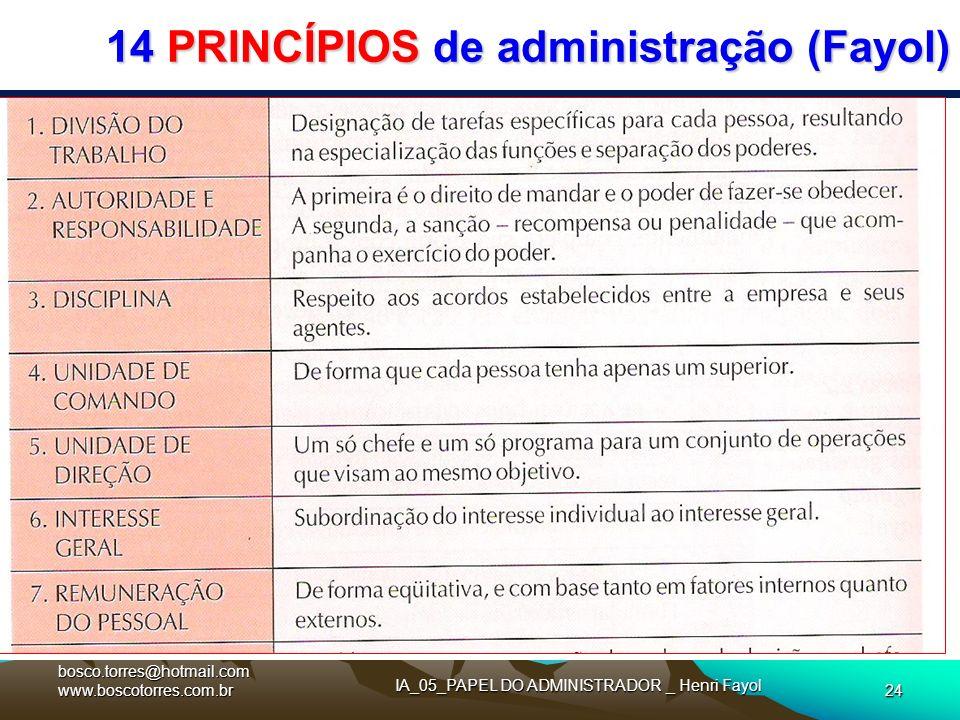14 PRINCÍPIOS de administração (Fayol). bosco.torres@hotmail.com www.boscotorres.com.br IA_05_PAPEL DO ADMINISTRADOR _ Henri Fayol 24