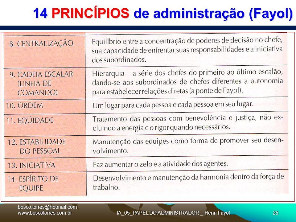 14 PRINCÍPIOS de administração (Fayol). bosco.torres@hotmail.com www.boscotorres.com.brIA_05_PAPEL DO ADMINISTRADOR _ Henri Fayol25