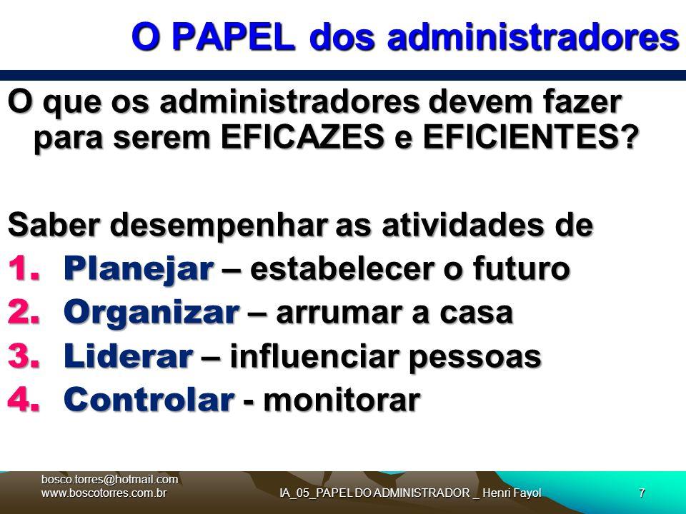 IA_05_PAPEL DO ADMINISTRADOR _ Henri Fayol7 O PAPEL dos administradores O que os administradores devem fazer para serem EFICAZES e EFICIENTES? Saber d