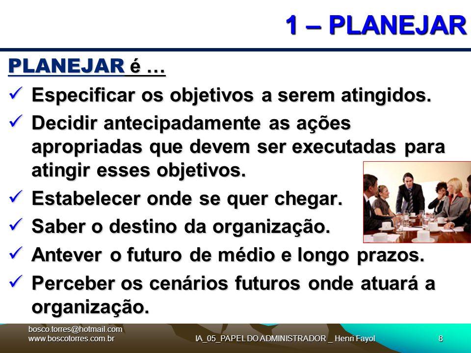 IA_05_PAPEL DO ADMINISTRADOR _ Henri Fayol8 1 – PLANEJAR PLANEJAR é … Especificar os objetivos a serem atingidos. Especificar os objetivos a serem ati