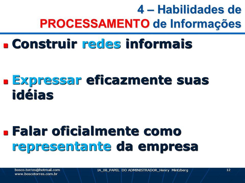 4 – Habilidades de PROCESSAMENTO de Informações Construir redes informais Expressar eficazmente suas idéias Falar oficialmente como representante da e