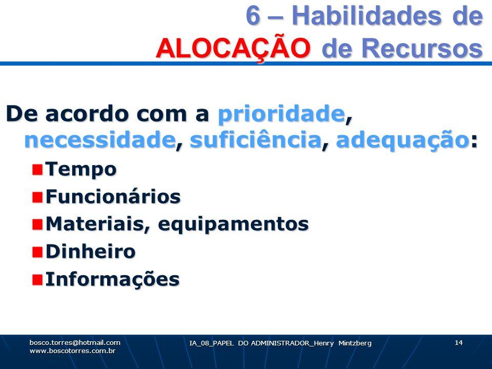 6 – Habilidades de ALOCAÇÃO de Recursos De acordo com a prioridade, necessidade, suficiência, adequação: TempoFuncionários Materiais, equipamentos Din