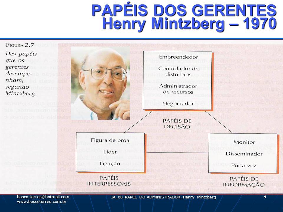 4 PAPÉIS DOS GERENTES Henry Mintzberg – 1970 PAPÉIS DOS GERENTES Henry Mintzberg – 1970. bosco.torres@hotmail.com www.boscotorres.com.br