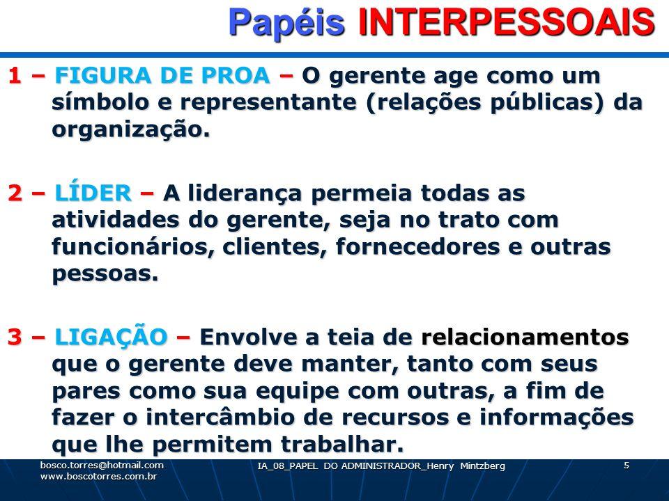 IA_08_PAPEL DO ADMINISTRADOR_Henry Mintzberg 5 Papéis INTERPESSOAIS Papéis INTERPESSOAIS 1 – FIGURA DE PROA – O gerente age como um símbolo e represen