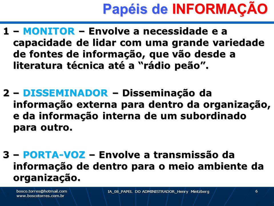 IA_08_PAPEL DO ADMINISTRADOR_Henry Mintzberg 6 Papéis de INFORMAÇÃO Papéis de INFORMAÇÃO 1 – MONITOR – Envolve a necessidade e a capacidade de lidar c