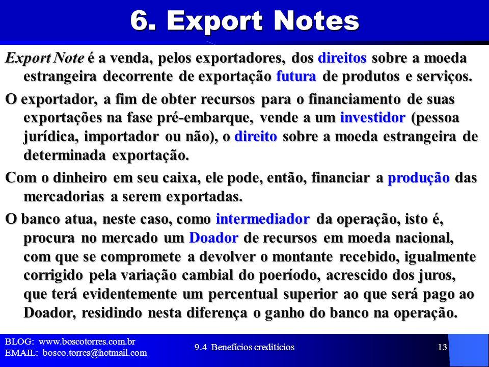 6. Export Notes Export Note é a venda, pelos exportadores, dos direitos sobre a moeda estrangeira decorrente de exportação futura de produtos e serviç