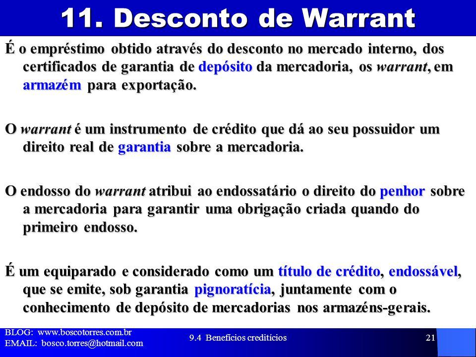 11. Desconto de Warrant É o empréstimo obtido através do desconto no mercado interno, dos certificados de garantia de depósito da mercadoria, os warra