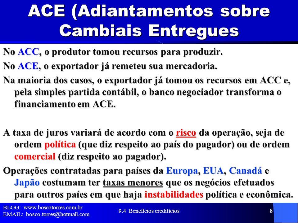 ACE (Adiantamentos sobre Cambiais Entregues No ACC, o produtor tomou recursos para produzir. No ACE, o exportador já remeteu sua mercadoria. Na maiori