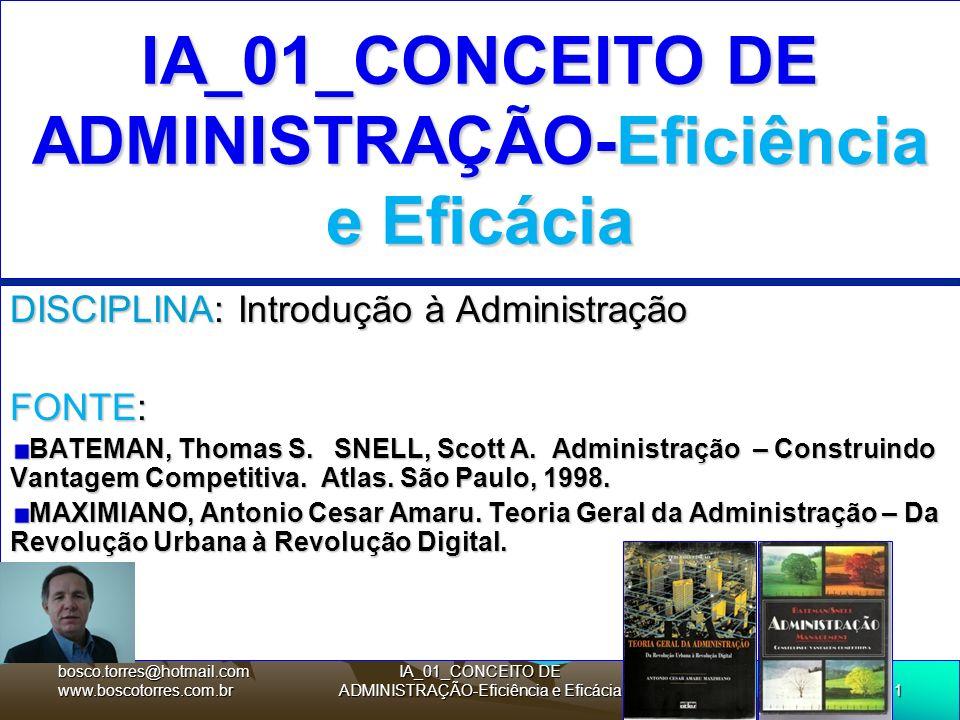 1 IA_01_CONCEITO DE ADMINISTRAÇÃO-Eficiência e Eficácia DISCIPLINA: Introdução à Administração FONTE: BATEMAN, Thomas S. SNELL, Scott A. Administração