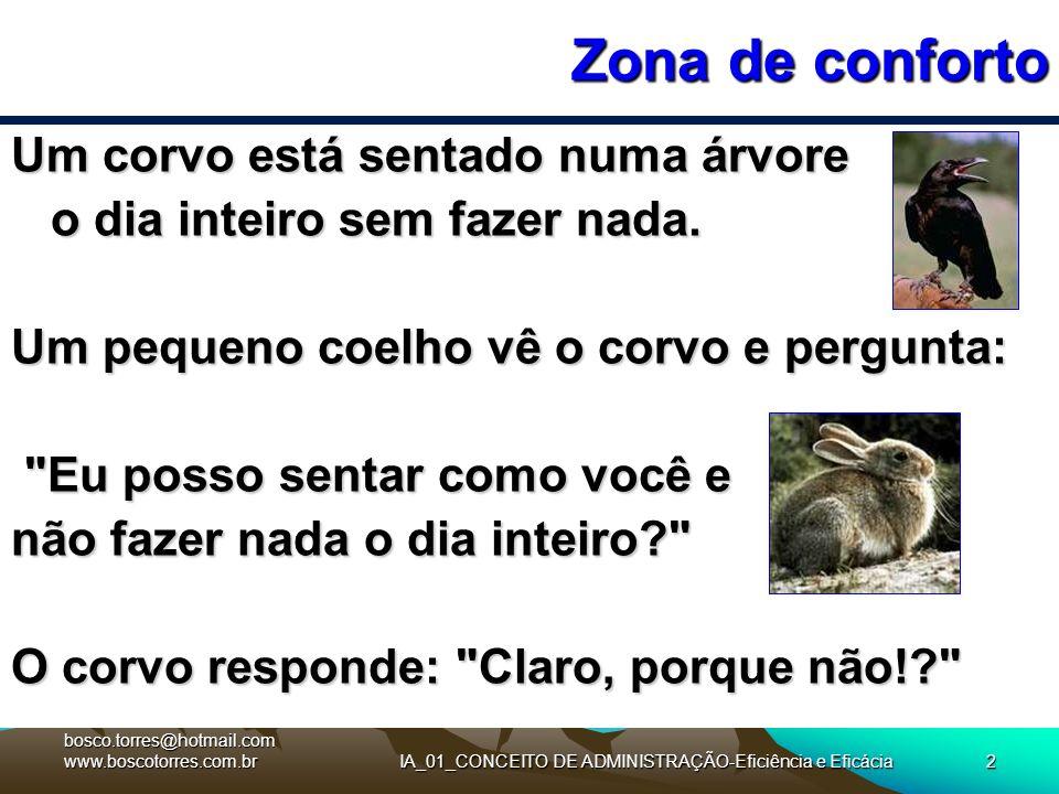 IA_01_CONCEITO DE ADMINISTRAÇÃO-Eficiência e Eficácia2 Zona de conforto Um corvo está sentado numa árvore o dia inteiro sem fazer nada. Um pequeno coe