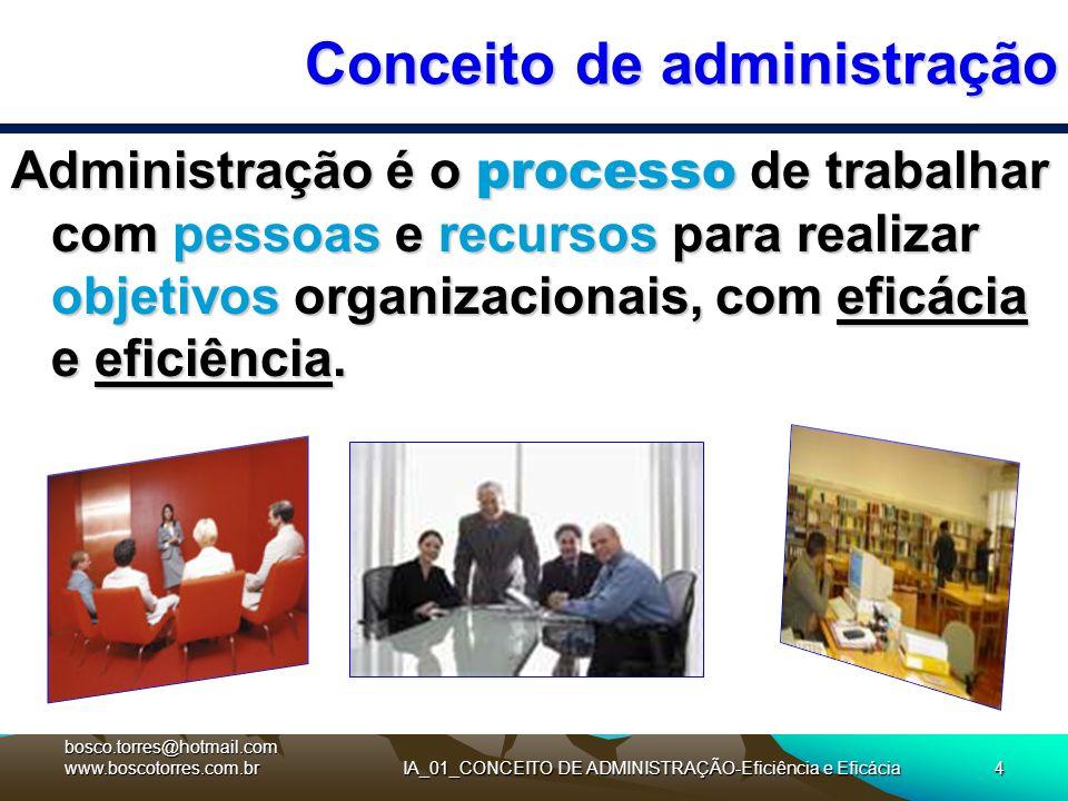 4 Conceito de administração Administração é o processo de trabalhar com pessoas e recursos para realizar objetivos organizacionais, com eficácia e efi