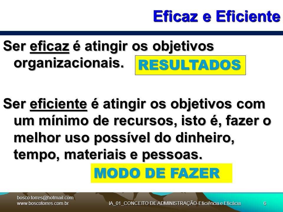 6 Eficaz e Eficiente Ser eficaz é atingir os objetivos organizacionais. Ser eficiente é atingir os objetivos com um mínimo de recursos, isto é, fazer