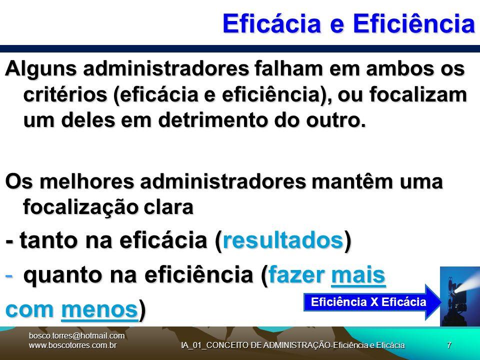 IA_01_CONCEITO DE ADMINISTRAÇÃO-Eficiência e Eficácia7 Eficácia e Eficiência Alguns administradores falham em ambos os critérios (eficácia e eficiênci