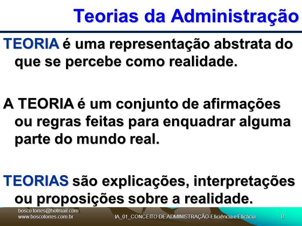 Teorias da Administração TEORIA é uma representação abstrata do que se percebe como realidade. A TEORIA é um conjunto de afirmações ou regras feitas p