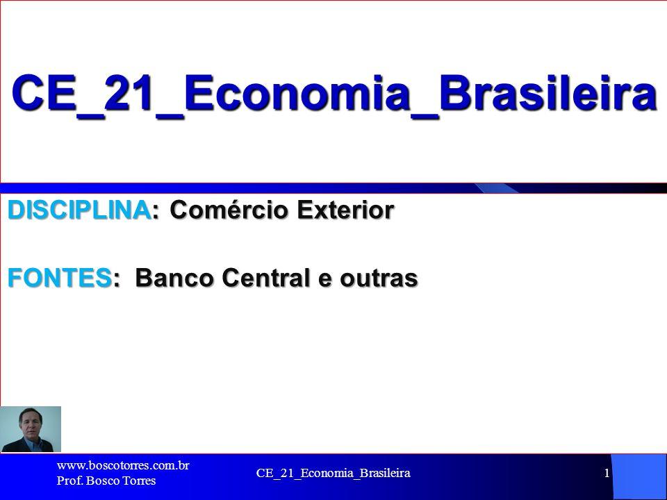 CE_21_Economia_Brasileira1 CE_21_Economia_Brasileira DISCIPLINA: Comércio Exterior FONTES: Banco Central e outras www.boscotorres.com.br Prof. Bosco T