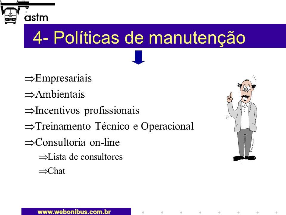 4- Políticas de manutenção Empresariais Ambientais Incentivos profissionais Treinamento Técnico e Operacional Consultoria on-line Lista de consultores Chat www.webonibus.com.br