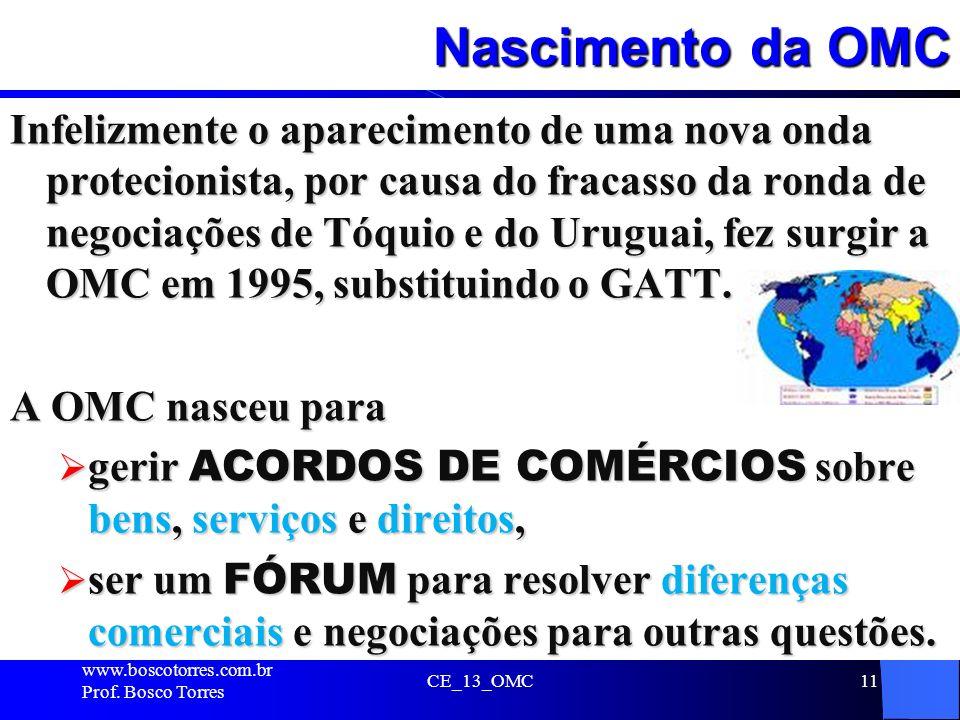 Nascimento da OMC Infelizmente o aparecimento de uma nova onda protecionista, por causa do fracasso da ronda de negociações de Tóquio e do Uruguai, fe