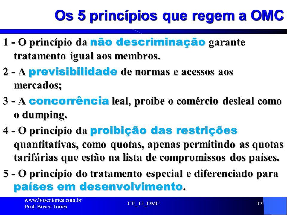 Os 5 princípios que regem a OMC 1 - O princípio da não descriminação garante tratamento igual aos membros. 2 - A previsibilidade de normas e acessos a