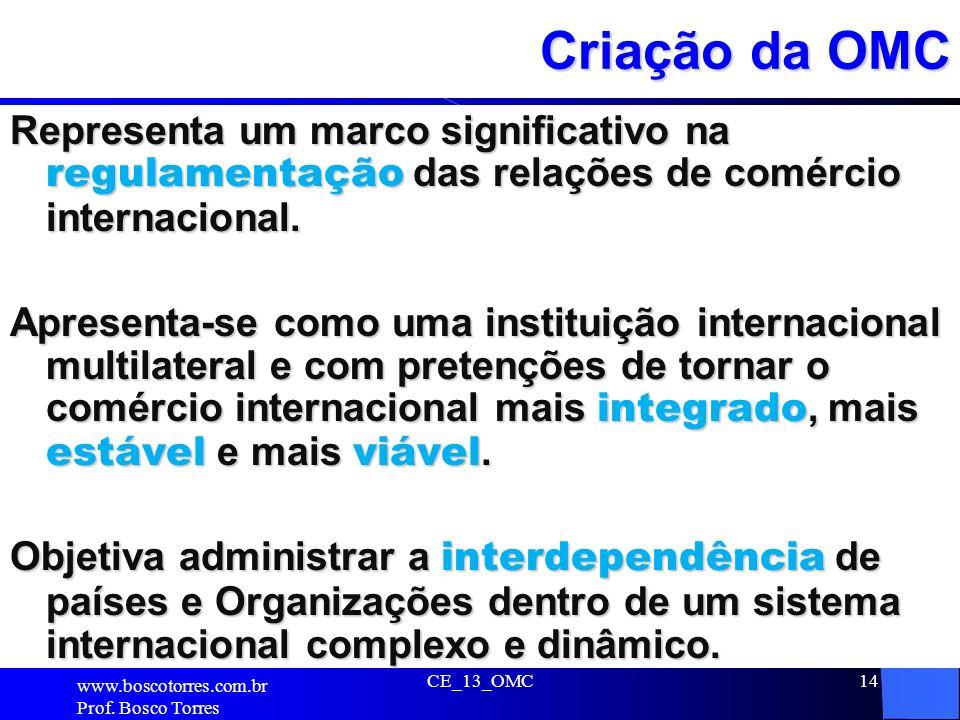 CE_13_OMC14 Criação da OMC Representa um marco significativo na regulamentação das relações de comércio internacional. Apresenta-se como uma instituiç