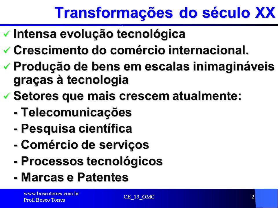 2 Transformações do século XX Intensa evolução tecnológica Intensa evolução tecnológica Crescimento do comércio internacional. Crescimento do comércio