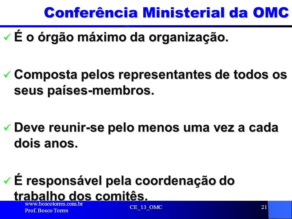 CE_13_OMC21 Conferência Ministerial da OMC É o órgão máximo da organização. É o órgão máximo da organização. Composta pelos representantes de todos os