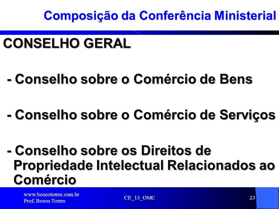 CE_13_OMC23 Composição da Conferência Ministerial CONSELHO GERAL - Conselho sobre o Comércio de Bens - Conselho sobre o Comércio de Bens - Conselho so