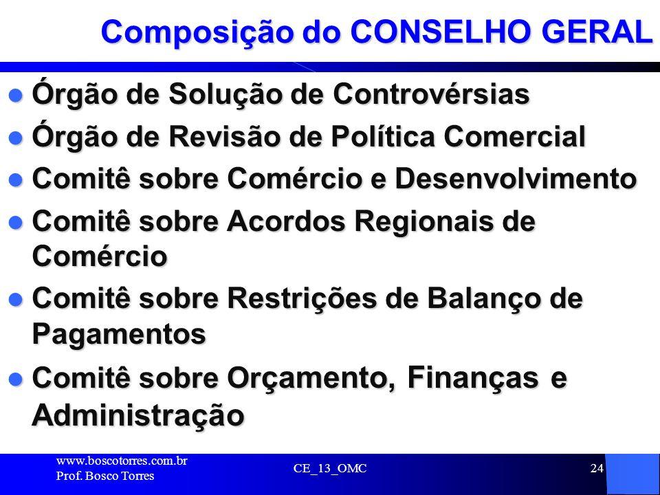 CE_13_OMC24 Composição do CONSELHO GERAL Órgão de Solução de Controvérsias Órgão de Solução de Controvérsias Órgão de Revisão de Política Comercial Ór