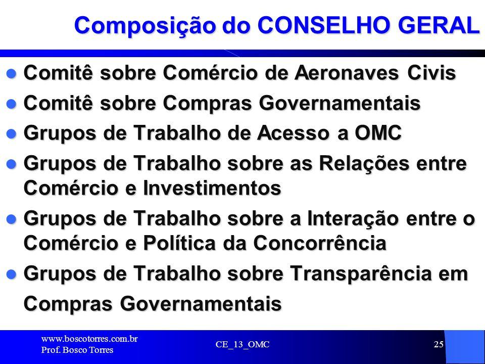 CE_13_OMC25 Composição do CONSELHO GERAL Comitê sobre Comércio de Aeronaves Civis Comitê sobre Comércio de Aeronaves Civis Comitê sobre Compras Govern
