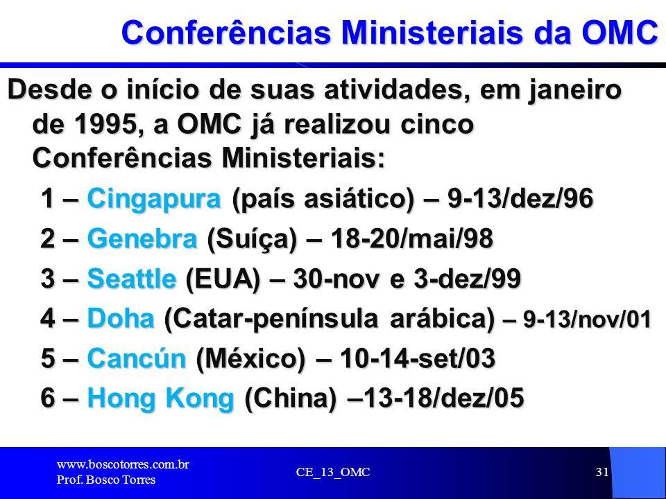 CE_13_OMC31 Conferências Ministeriais da OMC Desde o início de suas atividades, em janeiro de 1995, a OMC já realizou cinco Conferências Ministeriais: