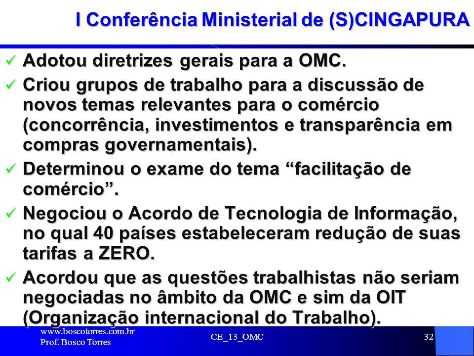32 I Conferência Ministerial de (S)CINGAPURA Adotou diretrizes gerais para a OMC. Adotou diretrizes gerais para a OMC. Criou grupos de trabalho para a