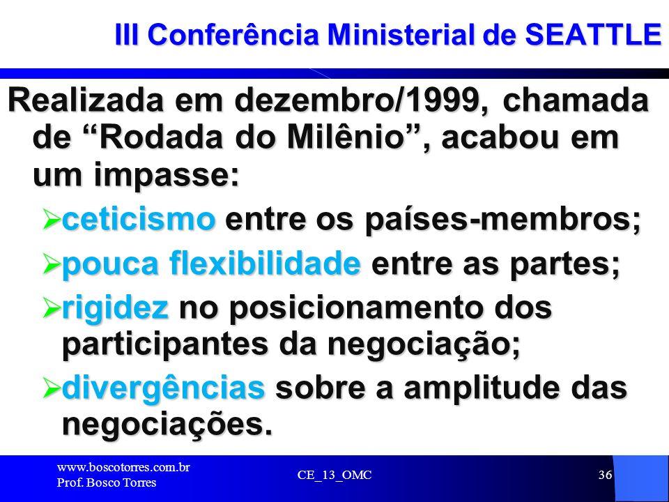 CE_13_OMC36 III Conferência Ministerial de SEATTLE Realizada em dezembro/1999, chamada de Rodada do Milênio, acabou em um impasse: ceticismo entre os
