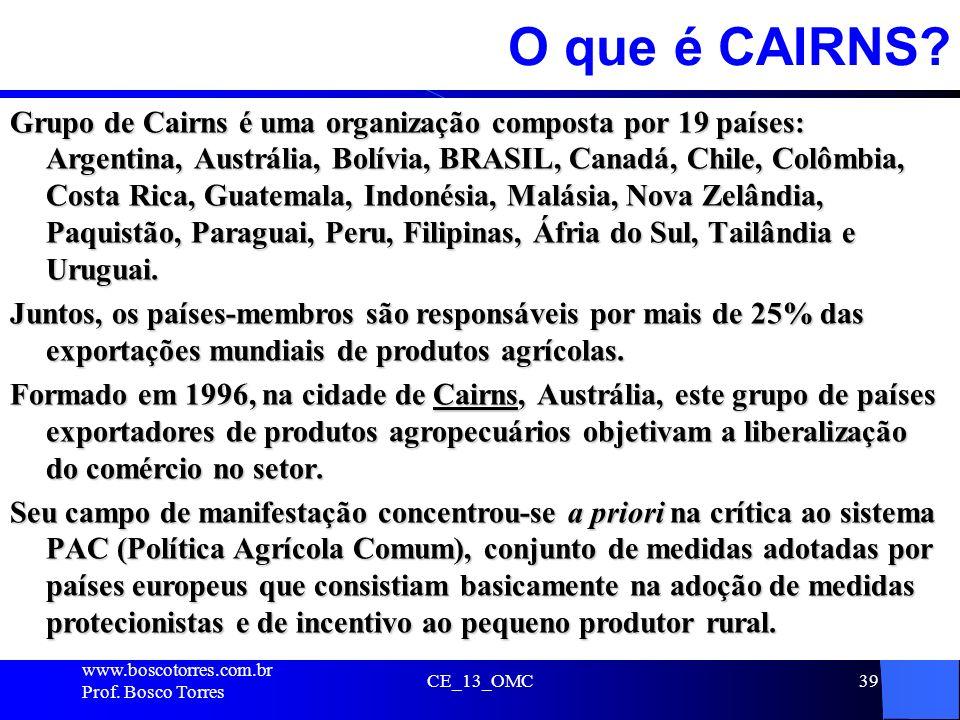 39 O que é CAIRNS? Grupo de Cairns é uma organização composta por 19 países: Argentina, Austrália, Bolívia, BRASIL, Canadá, Chile, Colômbia, Costa Ric