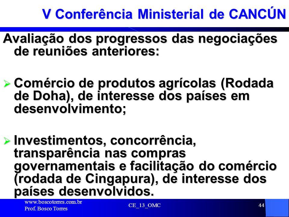 CE_13_OMC44 V Conferência Ministerial de CANCÚN Avaliação dos progressos das negociações de reuniões anteriores: Comércio de produtos agrícolas (Rodad