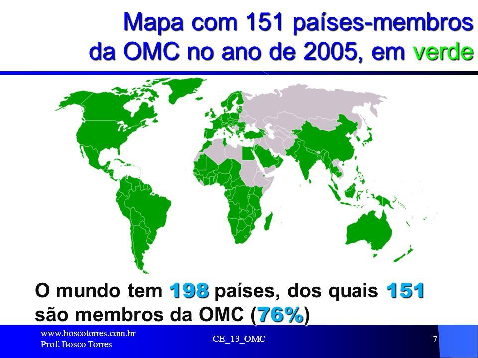 Mapa com 151 países-membros da OMC no ano de 2005, em verde. CE_13_OMC7 O mundo tem 198 países, dos quais 151 são membros da OMC ( 76% ) www.boscotorr