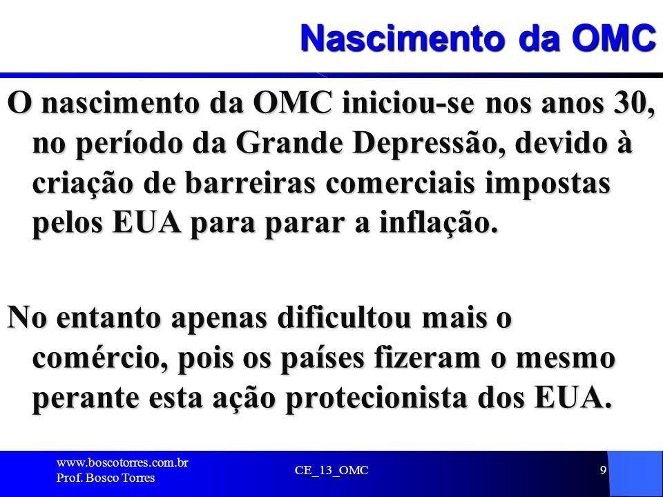 Nascimento da OMC O nascimento da OMC iniciou-se nos anos 30, no período da Grande Depressão, devido à criação de barreiras comerciais impostas pelos