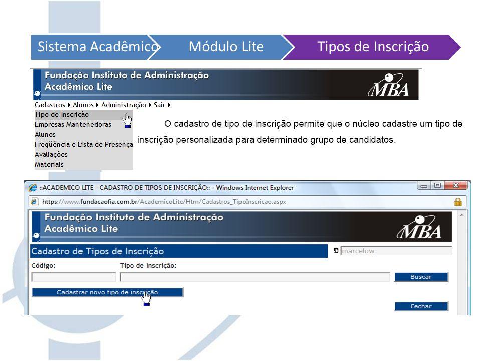 Sistema AcadêmicoMódulo LiteTipos de Inscrição