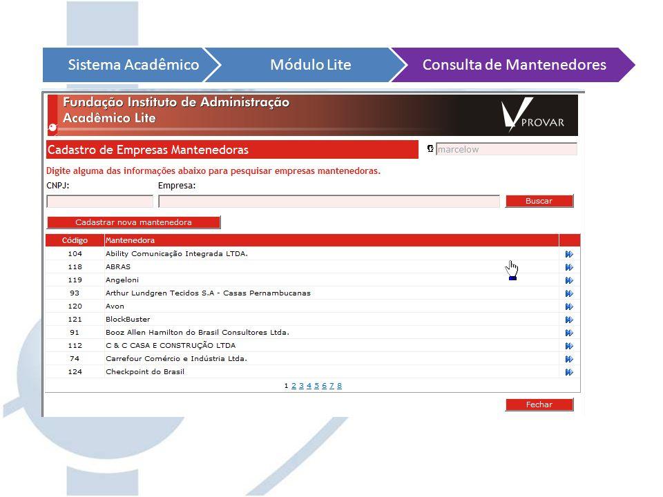 Sistema AcadêmicoMódulo LiteConsulta de Mantenedores