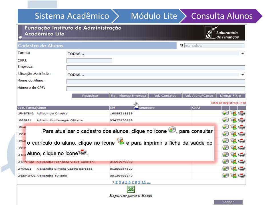 Sistema AcadêmicoMódulo LiteConsulta Alunos Quando o aluno já está cadastrado dentro do Acadêmico Lite, você pode sempre pesquisar informações sobre o