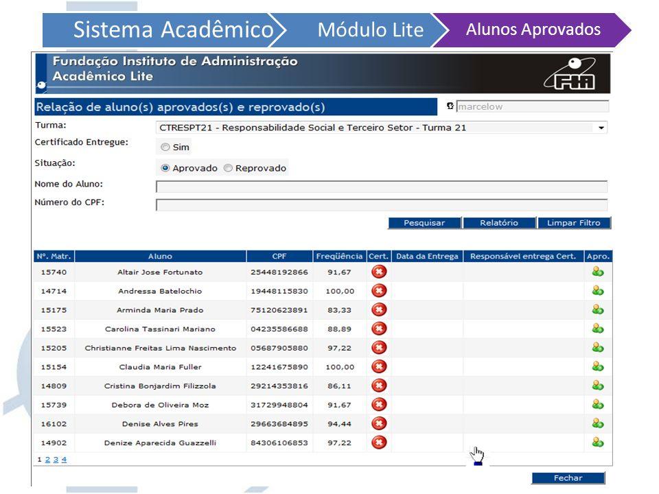 Sistema Acadêmico Módulo Lite Alunos Aprovados Após fazer sua consulta, clicando em relatório surgirá uma nova janela para impressão dos dados!