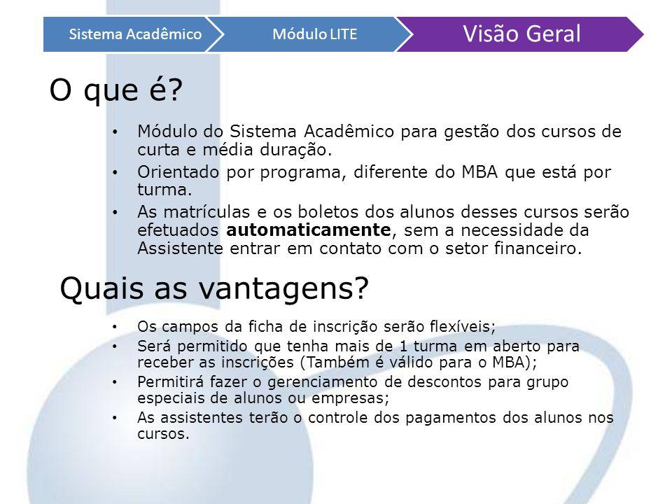 Sistema AcadêmicoMódulo LITE Visão Geral Módulo do Sistema Acadêmico para gestão dos cursos de curta e média duração. Orientado por programa, diferent