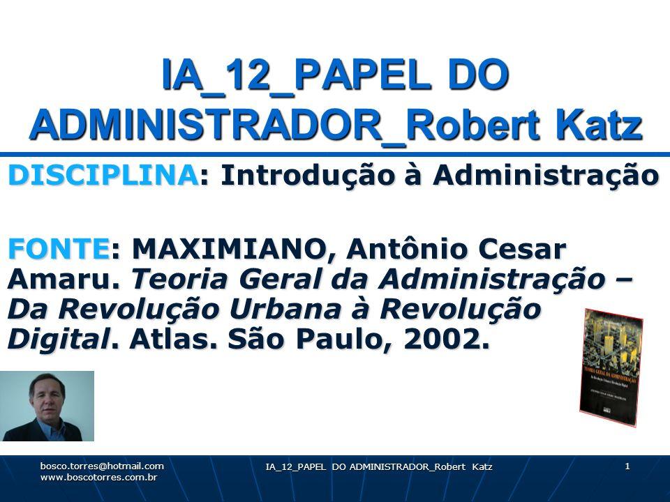IA_12_PAPEL DO ADMINISTRADOR_Robert Katz 1 DISCIPLINA: Introdução à Administração FONTE: MAXIMIANO, Antônio Cesar Amaru. Teoria Geral da Administração