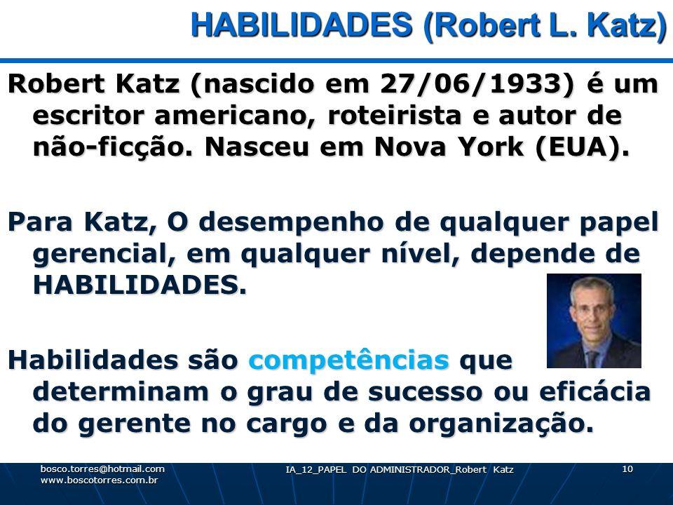 IA_12_PAPEL DO ADMINISTRADOR_Robert Katz 10 HABILIDADES (Robert L. Katz) HABILIDADES (Robert L. Katz) Robert Katz (nascido em 27/06/1933) é um escrito