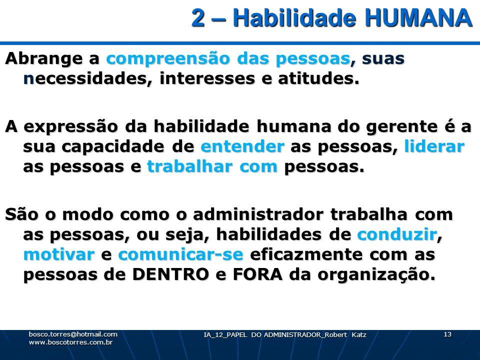 IA_12_PAPEL DO ADMINISTRADOR_Robert Katz 13 2 – Habilidade HUMANA 2 – Habilidade HUMANA Abrange a compreensão das pessoas, suas necessidades, interess