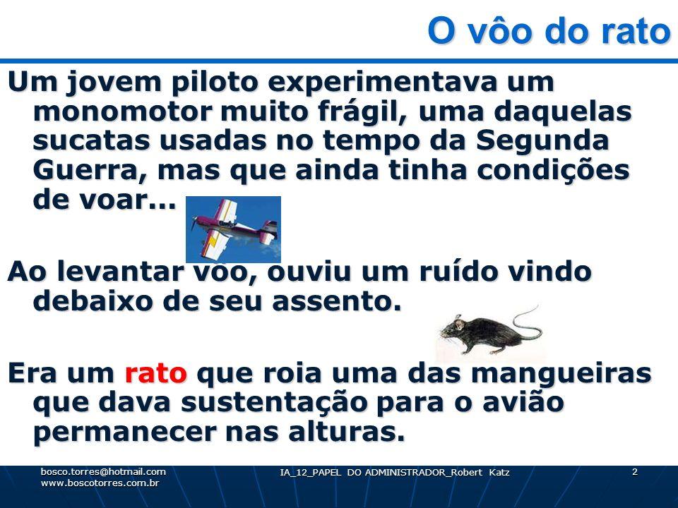 IA_12_PAPEL DO ADMINISTRADOR_Robert Katz 2 O vôo do rato O vôo do rato Um jovem piloto experimentava um monomotor muito frágil, uma daquelas sucatas u