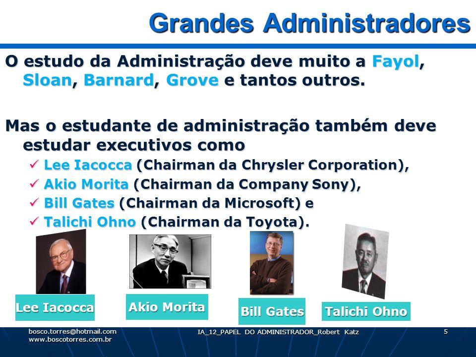 IA_12_PAPEL DO ADMINISTRADOR_Robert Katz 5 Grandes Administradores Grandes Administradores O estudo da Administração deve muito a Fayol, Sloan, Barnar