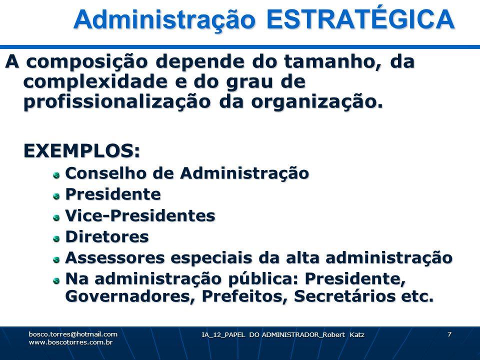 IA_12_PAPEL DO ADMINISTRADOR_Robert Katz 7 Administração ESTRATÉGICA Administração ESTRATÉGICA A composição depende do tamanho, da complexidade e do g