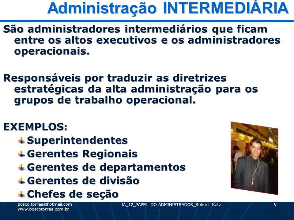 IA_12_PAPEL DO ADMINISTRADOR_Robert Katz 8 Administração INTERMEDIÁRIA Administração INTERMEDIÁRIA São administradores intermediários que ficam entre